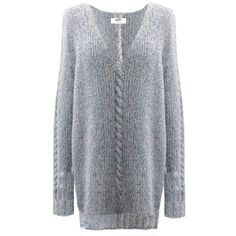 Yakshi Malhotra - Blue Marl V Neck Jumper (212 AUD) ❤ liked on Polyvore featuring tops, sweaters, oversized v neck sweater, long sleeve v neck sweater, blue sweater, v neck sweater and v neck jumper