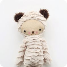 Kawaii Teddy Bear Plushie Stuffed Animal in Oatmeal Ribbon Minky Large on Etsy, $50.34 CAD