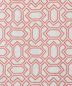 Vanderhurd DESIGN: PETITE PARAVENTO CORAL COLOURWAY: 2001-2 / NATURAL CONSTRUCTION: MACHINE EMBROIDERED GATE STITCH ON LINEN COMPOSITION: 100% LINEN WITH SPUN POLYESTER