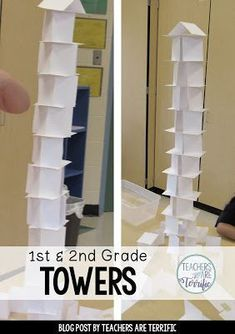 STEM Challenge for first graders! First, we read a fabulous picture book about skyscrapers and then we tried building a tower! One material and so many ways to build that tower!