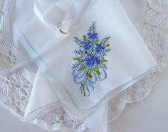 Wedding Handkerchief Something Blue Winter by GreenbriarCreations