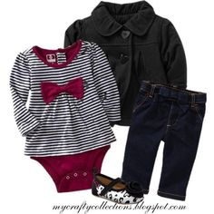 Baby Girl Outfit - Pea Coat, Top, Jeans, and flats., created by angiejane on Polyvore