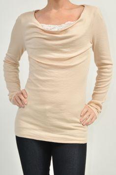 Chantilly Shine Drape Neck Top www.shopmapel.com