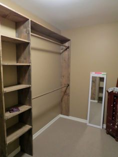 Lets Just Build a House!: Walk-in closets: No more living out of laundry baskets! Diy Walk In Closet, Closet Redo, Closet Remodel, Master Bedroom Closet, Build In Closet, Diy Closet Ideas, Diy Ideas, Grande Armoire, Laundry Baskets