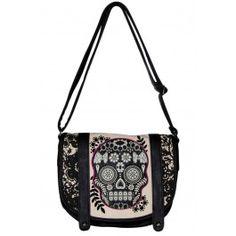 Loungefly Lace Skull With Fuschia Crossbody Bag