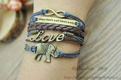 Infinity Love & Elephants charm braceletRetro bronze by Richardwu, $6.25