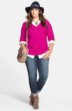 Plus Size Sweater,Tunic Shirt & DKNY Jeans Slim Jeans #Plus #Size #Fashion