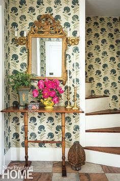 Historic Concord Restoration Entryway | Blue-mum wallpaper by Michael S. Smith for Jasper