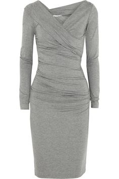 We'd wear this gray DVF wrap dress anywhere - it's the most flattering style around - Lavinia Fashion Consultant
