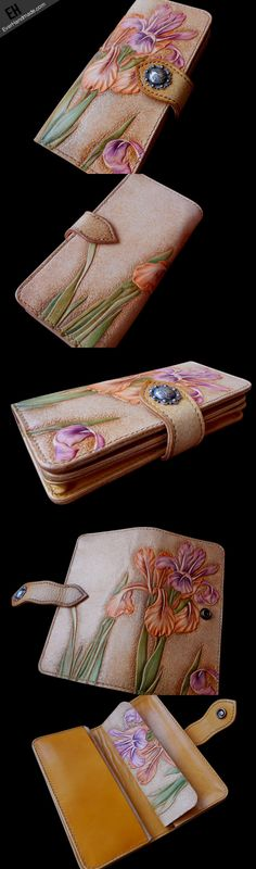 Handcraft vintage hand painting Irises flower leather long wallet for  | EverHandmade