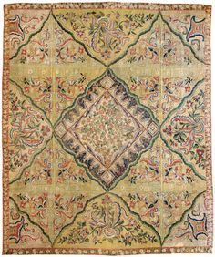 "Antique Aubusson Rug, Size 15' 8"" x 19', hand woven in France. At Mansour"