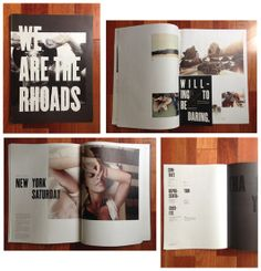 And another example by We Are The Rhoads [2013 annual issue] - this time upping the production value... alot. Gold foiled cover, postcards inside that can be torn out, spot gloss details, and solid design. A good example for a dream budget :)