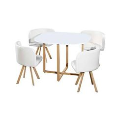 Table avec 4 Chaises Encastrables BLANC Space Saving Dining Table, Open Kitchen And Living Room, Game Room, Stool, House, Furniture, Home Decor, Gallery, Recycled Furniture