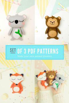 new ideas fabric wall art diy patterns Felt Animal Patterns, Baby Patterns, Pdf Patterns, Fabric Wall Art, Diy Wall Art, Baby Crafts To Make, Toddler Art Projects, Gifted Kids, Felt Toys