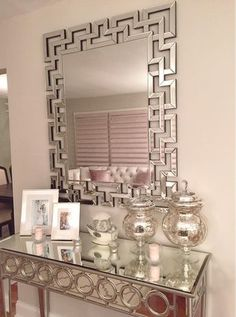 Opulent Entryway Gets A Dose Of Dimension From Our Santorini MIrror +  Sophie Mirrored Console Table.