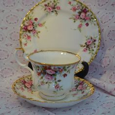 Royal Albert Cottage Garden Tea Trio, Vintage English Bone China Tea cup, Saucer, Tea Plate, Rose Spray Pattern and Gilt, First Quality by ImagineHowCharming on Etsy