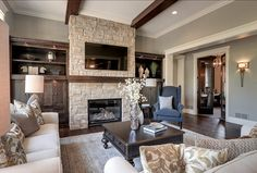 2013 Luxury Home-Inver Grove Heights - traditional - living room - minneapolis - Highmark Builders Home Fireplace, Fireplace Design, Fireplaces, Fireplace Refacing, Muebles Living, Family Room Design, Luxury Interior Design, Design Interiors, Livingston