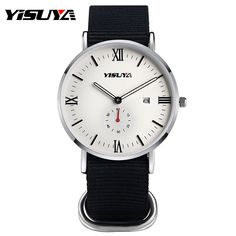 YISUYA Date Display Nylon Band Women Men Sport Wrist Watch Brief Quartz Strap Round Dial Army Military Hot Fashion Casual Cool