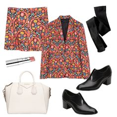 Matching separates: shorts, blazer, blk tights and patent leather slip on