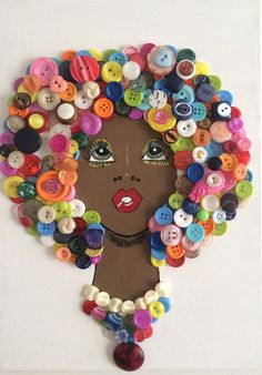 25 + craft ideas button painting There are so many button crafts for kids result in charming, handmade and gift-worthy items! Learn how to make button art on canvas! Kids Crafts, Button Crafts For Kids, Diy And Crafts, Arts And Crafts, Paper Crafts, Art Diy, Diy Wall Art, African Crafts, African Art