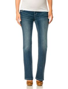 Indigo Blue Motherhood Maternity Premium Under Belly Flap Pocket Boot Cut Maternity Jeans