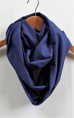 Peacock Blue Chambray Infinity Scarf 7 Wide 94