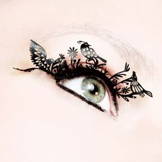 incredible costume lashes!!  £12.00    A very sexy interpretation of the traditional craft of Chinese paper cutting these voluptuous falsies are the perfect accessory this season.    Available in 10 different styles, each pattern represents a traditional Chinese symbol: Birds symbolise happiness and fulfillment