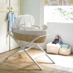 Free shipping Johnlewis baby moses basket kit cradle waffle corn husk 7 piece set mount