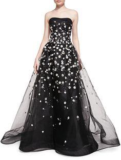 Carolina Herrera Strapless Ball Gown W/ Embroidered Daisies #fashion #wishlist #dress