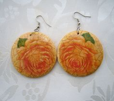 Decoupaged Earrings  Round Wooden Dangling by CraftsbySigita