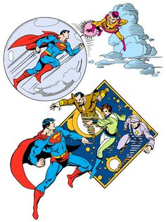 Superman meets Mr. Mxyzptlk & The Phantom Zone Villains from 1982 DC Comics Style Guide by José Luis García-López