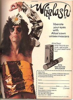 The were a crazy time. Pet rocks, mood rings, polyester leisure suits, and don't forget Alice Cooper's Whiplash Mascara. By Alice Cooper was at the height of his care… Alice Cooper, Trip Hop, Music Metal, Rock Music, Music Music, Rock N Roll, Rock Rock, Live Rock, Mascara