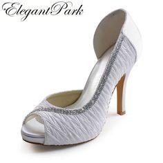 Sweet Pumps for Bride White Peep Toe Pleated Rhinestone Platform Stiletto  Heel Satin Wedding Woman Shoes 5d48b749e1ef