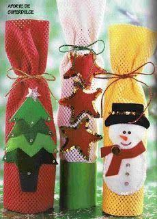 Resultado de imagen para forros para botellas de navidad