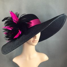 Hand-trimmed Fuchsia  Pink Feather Kentucky Derby Black Hat, Fascinator, 2016 New design by theoriginaltree on Etsy https://www.etsy.com/listing/263460687/hand-trimmed-fuchsia-pink-feather