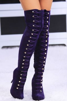 Purple Knee High Boots