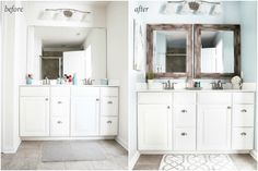 I'm sharing all of my favorite master bathroom organization ideas and easy updates that we've done to go from cluttered and boring to organized and beautiful! Master Bathroom Layout, Simple Bathroom, Bathroom Ideas, Bathroom Hacks, Budget Bathroom, Modern Bathroom, Small Half Bathrooms, Bathroom Countertops, Bathroom Renovations