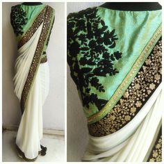 Gorgeouse ivory sari with our rosette blouse....