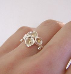 Flowering Twig Ring 22k Gold Sterling Silver by esdesigns, $78.00