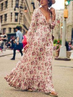 Boho Sexy Deep V Plunge Floral Print Maxi Dress