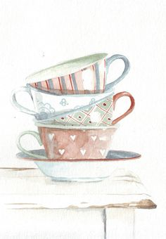 Original watercolor painting teacups green blue red by HelgaMcL http://etsy.me/UA4qsT $20.00