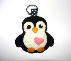 Wool Felt Penguin Keychain, Penguin Keychain, Keyring, Key Holder, Felt Penguin, Gift Bag, Decor, Ornament, Felt Animal, Black Penguin