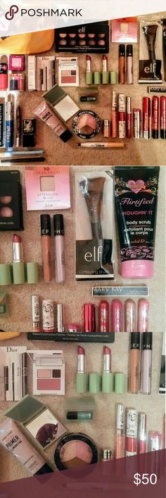 High End & Drugstore Makeup Bundle Brand new  Ipsy Bag LazerKitten Pin Diamond Blender e.l.f.  Shadow Palette Urban Decay Highlighter X2 Sephora  Corrector&Concealer In:  Lavender  Deep e.l.f. Contour Brush Hard Candy Body Scrub  Mary Kay Lash Love Mascara Black x4 Hard Candy Lip Lacquer:  Man Catcher  Bashful  Rated R  Red Stiletto Hard Candy Lip Stain Pulse Hard Candy Lipstick Caliente Hard Candy Liquid Liner Magenta Madness Hard Candy Lip Shine  Exotic Hard Candy Fierce Effects Lip…