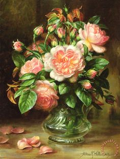 Albert Williams English Elegance Roses In A Glass painting - English Elegance Roses In A Glass print for sale