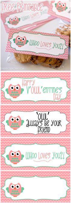 Free Owl Valentine Printable Pinned by www.myowlbarn.com