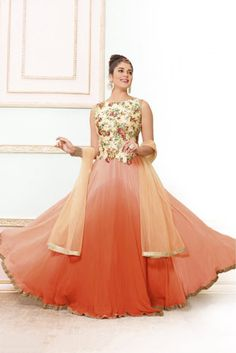 Peach Colour Net and Viscose Georgette Fabric Designer Semi Stitched Gown Comes With Matching Dupatta. This Gown Is Crafted With Lace Work,Printed. This Gown Comes As Semi Stitched So It Can Be Stitch...