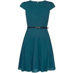**Billie Blossom Petite Green Belted Skater Dress (71 AUD) ❤ liked on Polyvore featuring dresses, petite skater dress, skater dress, petite green dress, green day dress and blue color dress
