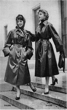 Fashionable ladies rainwear made from SBR (Shiny Black Rubber)
