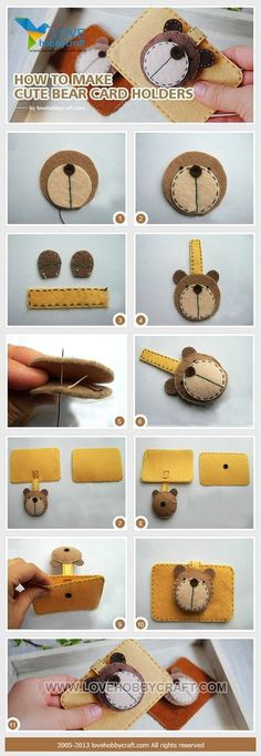 DIY Tutorial craft tutorials / How to make cute bear card holders - Bead&Cord Felt Diy, Felt Crafts, Fabric Crafts, Sewing Crafts, Diy And Crafts, Sewing Projects, Craft Projects, Craft Ideas, Felt Patterns