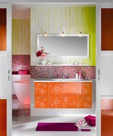Girly bathroom design with orange themed furniture